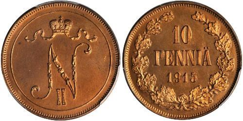 10 Penny Großfürstentum Finnland (1809 - 1917) Kupfer Nikolaus II (1868-1918)