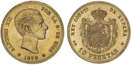 10 Peseta Kingdom of Spain (1874 - 1931) 金 Alfonso XII of Spain (1857 -1885)