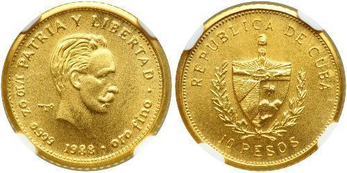 10 Peso Cuba 金 Jose Julian Marti Perez (1853 - 1895)