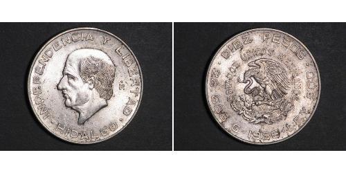 10 Peso 墨西哥 銀 Miguel Hidalgo