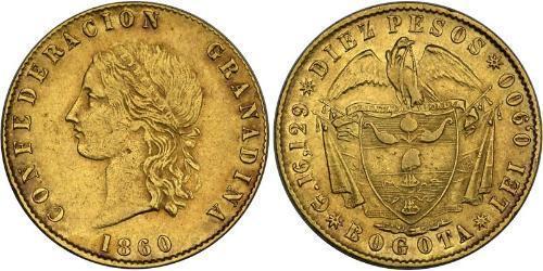 10 Peso Granadine Confederation (1858 - 1863) Gold