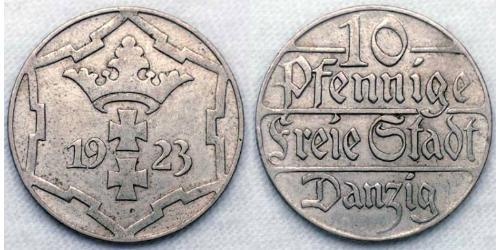 10 Pfennig Gdansk (1920-1939) Rame/Nichel