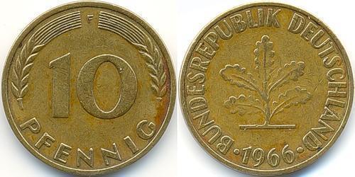 10 Pfennig 西德 (1949 - 1990) Steel/黃銅