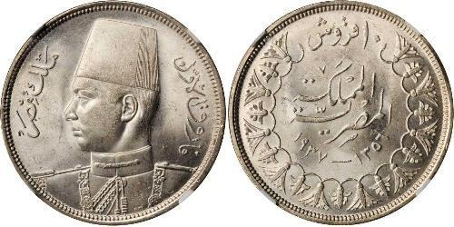 10 Piastre 埃及王國 (1922 - 1953) 銀 Farouk I of Egypt (1920 - 1965)