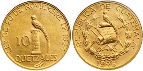 10 Quetzal República de Guatemala (1838 - ) Gold