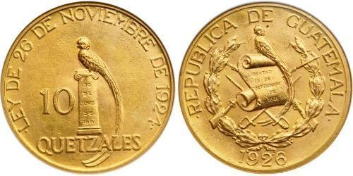 10 Quetzal Republic of Guatemala (1838 - ) Gold