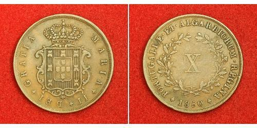 10 Reis Kingdom of Portugal (1139-1910) Kupfer Maria II. von Portugal (1819-1853)