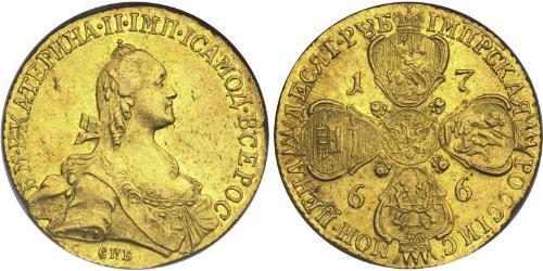 10 Rublo Impero russo (1720-1917) Oro Caterina II (1729-1796)