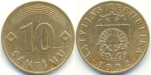 10 Santims Letonia (1991 - ) Níquel/Latón