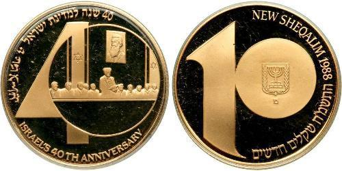 10 Sheqalim Israele (1948 - ) Oro