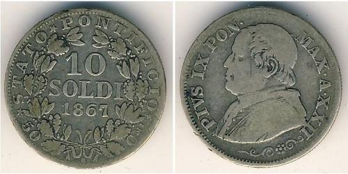 10 Soldo 教皇国 (754 - 1870) 銀 Pope Pius IX (1792- 1878)