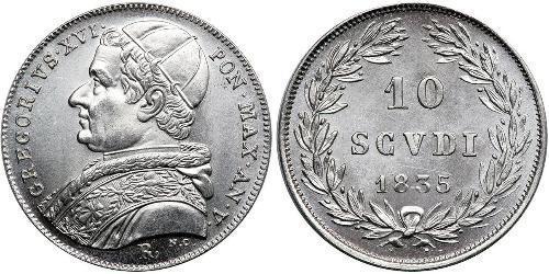 10 Soldo Stato Pontificio (752-1870) Argento Papa Gregorio XVI