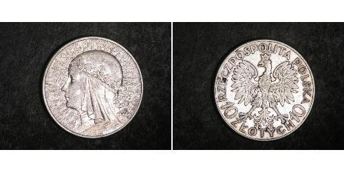 10 Zloty Segunda República Polaca (1918 - 1939) Plata Eduviges I de Polonia