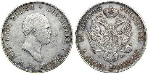 10 Zloty Kingdom of Poland (1815-1915) Silver Alexander I of Russia (1777-1825)