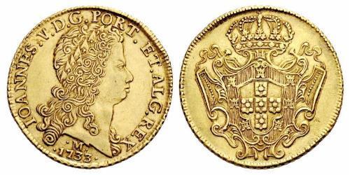 12800 Reis Brasil Oro Juan V de Portugal (1689-1750)