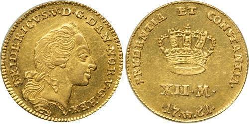 12 Mark Danimarca-Norvegia (1536-1814) Oro Federico V di Danimarca (1723 - 1766)