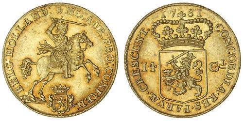 14 Gulden Provincias Unidas de los Países Bajos (1581 - 1795) Oro