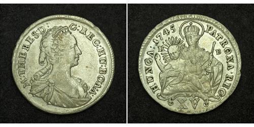 15 Kreuzer Royaume de Hongrie (1000-1918) Argent Maria Theresa of Austria (1717 - 1780)