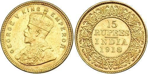 15 Rupee Britisch-Indien (1858-1947) Gold George V (1865-1936)