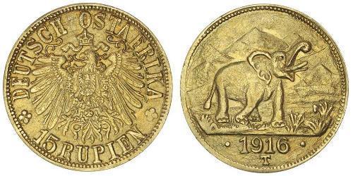 15 Rupee África Oriental Alemana (1885-1919) Oro