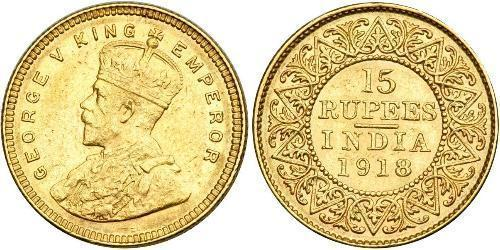 15 Rupee Raj Británico (1858-1947) Oro Jorge V (1865-1936)