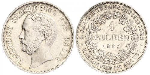 1 Гульден Великое герцогство Баден (1806-1918) Серебро Фридрих I (великий герцог Баденский) (1826 - 1907)