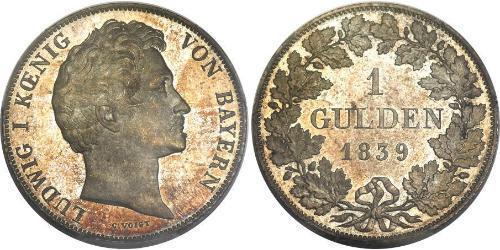 1 Гульден Королевство Бавария (1806 - 1918) Серебро Людвиг I (король Баварии)(1786 – 1868)