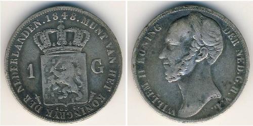 1 Гульден Королевство Нидерланды (1815 - ) Серебро Виллем II (1792 - 1849)