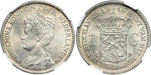 1 Гульден Королевство Нидерланды (1815 - ) Серебро Вильгельмина(1880 - 1962)