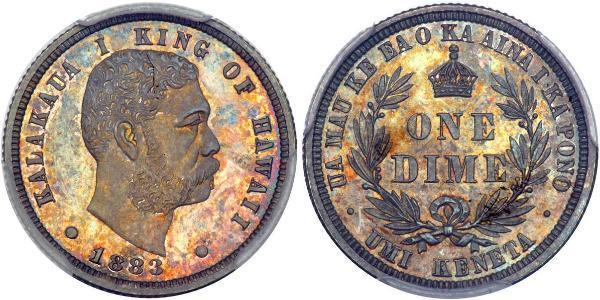 1 Дайм США (1776 - ) Серебро Калакауа