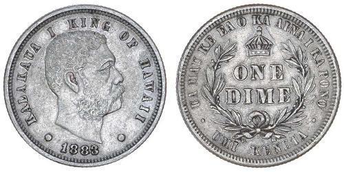 1 Дайм США (1776 - ) Срібло Kalākaua
