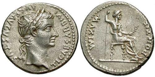 1 Денарий Римская империя (27BC-395) Серебро Тиберий Клавдий Нерон (42 BC-37)