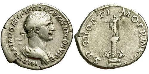 1 Денарій Римська імперія (27BC-395) Срібло Траян (53-117)