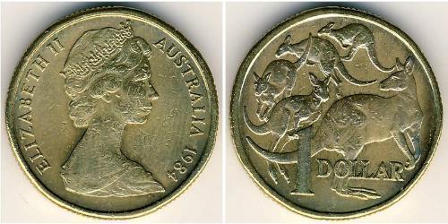 1 Доллар Австралия (1939 - ) Алюминий/Никель/Медь Елизавета II (1926-)