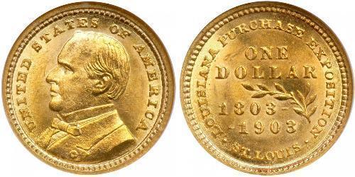 1 Доллар США (1776 - ) Золото William McKinley, Jr. (1843 - 1901)