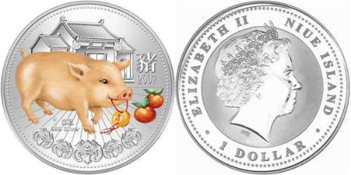 1 Доллар Ниуэ Серебро