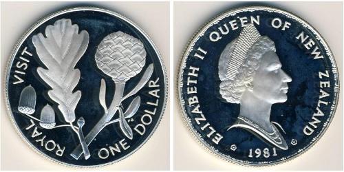 1 Доллар Новая Зеландия Серебро Елизавета II (1926-)