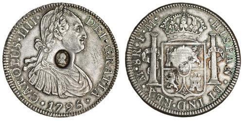 1 Доллар / 8 Реал Соединённое королевство Великобритании и Ирландии (1801-1922) / Новая Испания (1519 - 1821) Серебро Карл IV король Испании (1748-1819) / Георг III (1738-1820)
