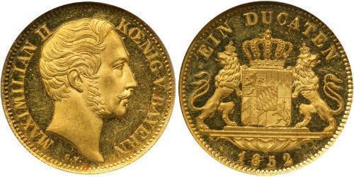 1 Дукат Королевство Бавария (1806 - 1918) Золото Максимилиан II (король Баварии)(1811 - 1864)