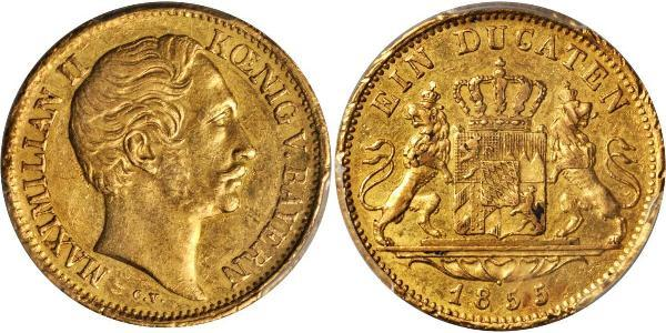 1 Дукат Королівство Баварія (1806 - 1918) Золото Максиміліан II (король Баварії)(1811 - 1864)