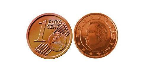 1 Евроцент Бельгия Сталь/Медь Альберт II король Бельгии