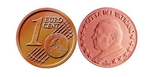 1 Евроцент Ватикан (1926-) Сталь/Медь Иоанн Павел II (1920 - 2005)