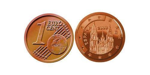 1 Евроцент Королевство Испания (1976 - ) Сталь/Медь