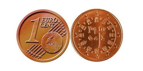 1 Евроцент Португальская Республика (1975 - ) Сталь/Медь