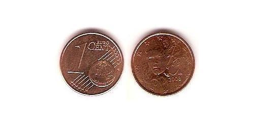 1 Евроцент Пятая французская республика (1958 - ) Сталь/Медь