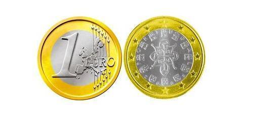 1 Евро Португальская Республика (1975 - ) Никель/Медь