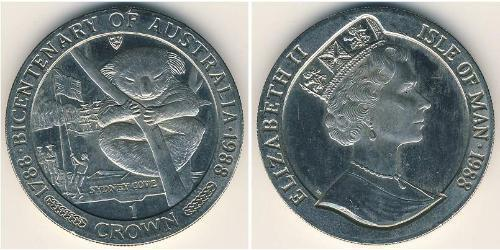 1 Крона(английская) Остров Мэн Никель/Медь Елизавета II (1926-)