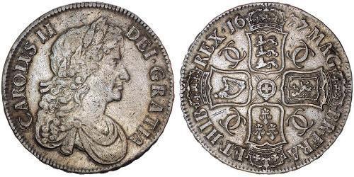 1 Крона(английская) Королевство Англия (927-1649,1660-1707) Серебро Карл II (1630-1685)