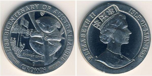 1 Крона(англійська) Острів Мен Мідь-Нікель Єлизавета II (1926-)
