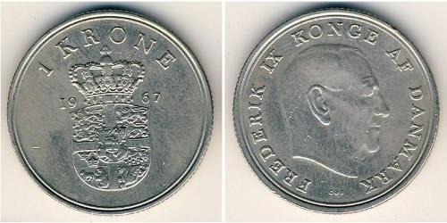 1 Крона Дания Никель/Медь Фредерик IX (1899 - 1972)